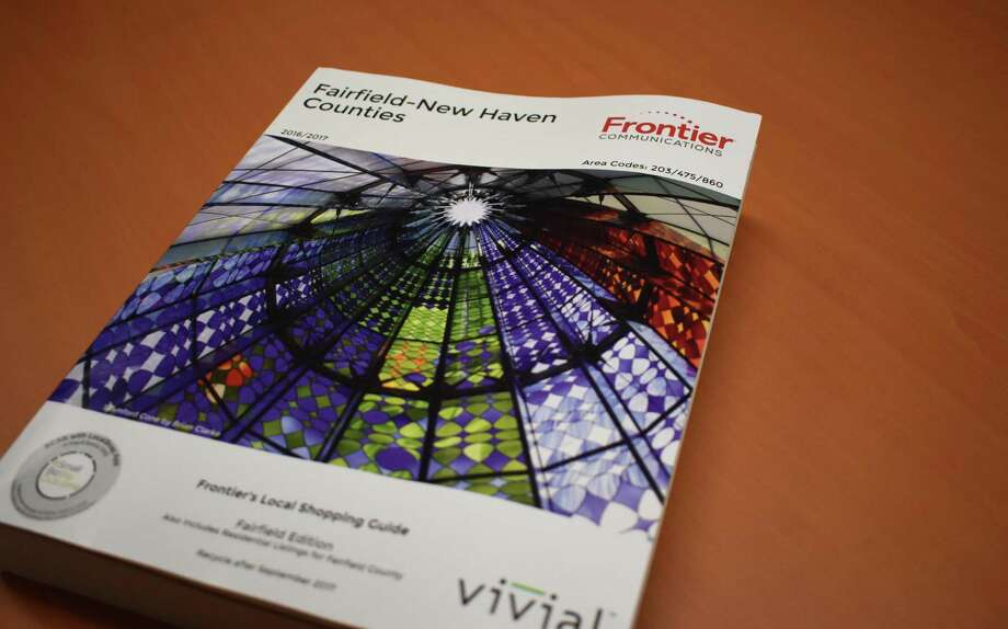 The 2016-2017 Fairfield County white pages and shopping guide published by Norwalk, Conn.-based Frontier Communications. In 2017, Frontier has asked New York officials for permission to end blanket distribution of telephone books. Photo: Alexander Soule / Hearst Connecticut Media / Stamford Advocate