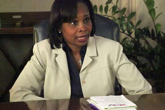 Mayor Ivy Taylor talks with the San Antonio Express-News editorial board on April 7.