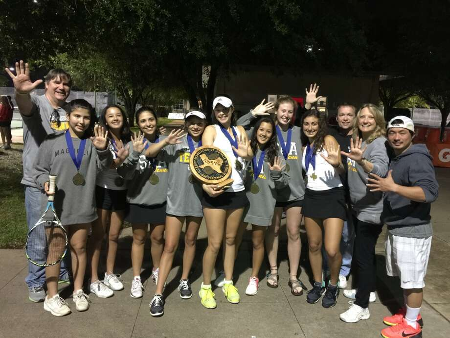 The St. Agnes tennis team won its fifth consecutive TAPPS state championship April 12-13 at Waco Regional Tennis Center. Pictured from left are Coach Tom Caine, Regina Lopez, Jordan Ham, Anika Yzaguirre, Kendal Couch, Christina Watson, Rachel Ham, Caitlin Boeker, Natalia Nassar, Coach Jeff Wheeler, Coach Kris Caine and Coach Tuyen Nguyen. Photo: Submitted Photo