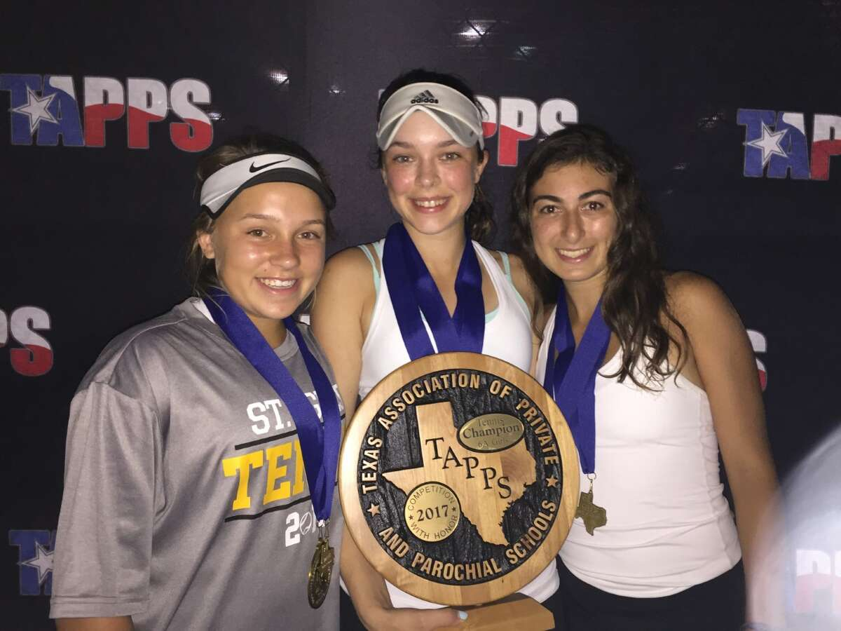 The St. Agnes tennis team won its fifth consecutive TAPPS state championship April 12-13 at Waco Regional Tennis Center. Kendall Couch (left) and Natalia Nassar (right) won the doubles bracket, while Christina Watson (center) was the singles champion.