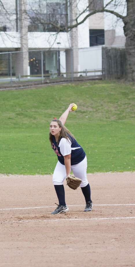 GFA senior Maddy Canning of New Canaan pitched her first varsity win on April 11 against The Harvey School, leading her team to a 23-13 victory. Photo: Contributed Photo / New Canaan News contributed
