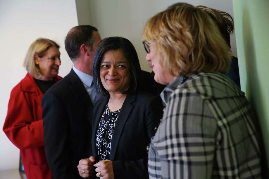 Representative Pramila Jayapal (D-WA, 7) meets with members of the National Association of Realtors at her district office in Seattle, Tuesday, April 18, 2017.  Most of days when in Seattle on Congressional recess are booked up with meetings and town hall appearances. Photo: GENNA MARTIN, SEATTLEPI.COM / SEATTLEPI.COM