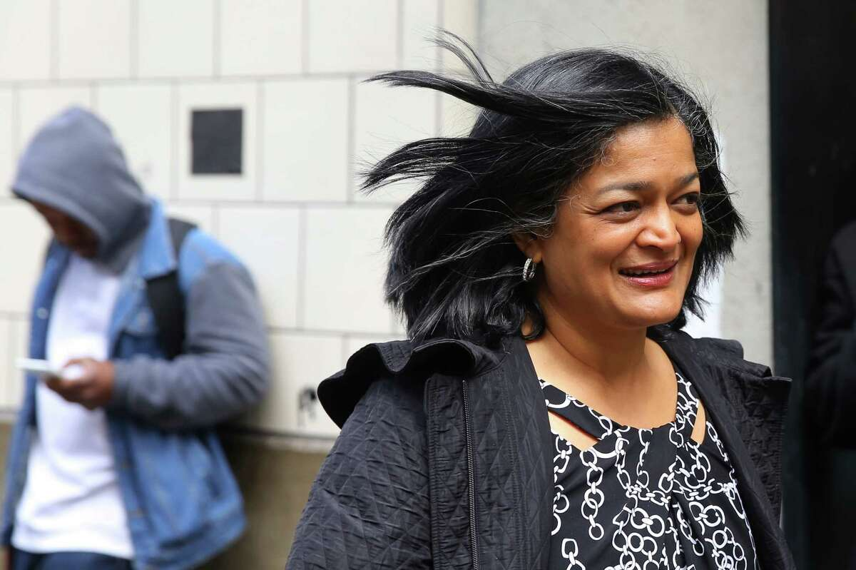 Representative Pramila Jayapal (D-WA, 7) heads out to pick up lunch from her district office in Seattle, Tuesday, April 18, 2017.