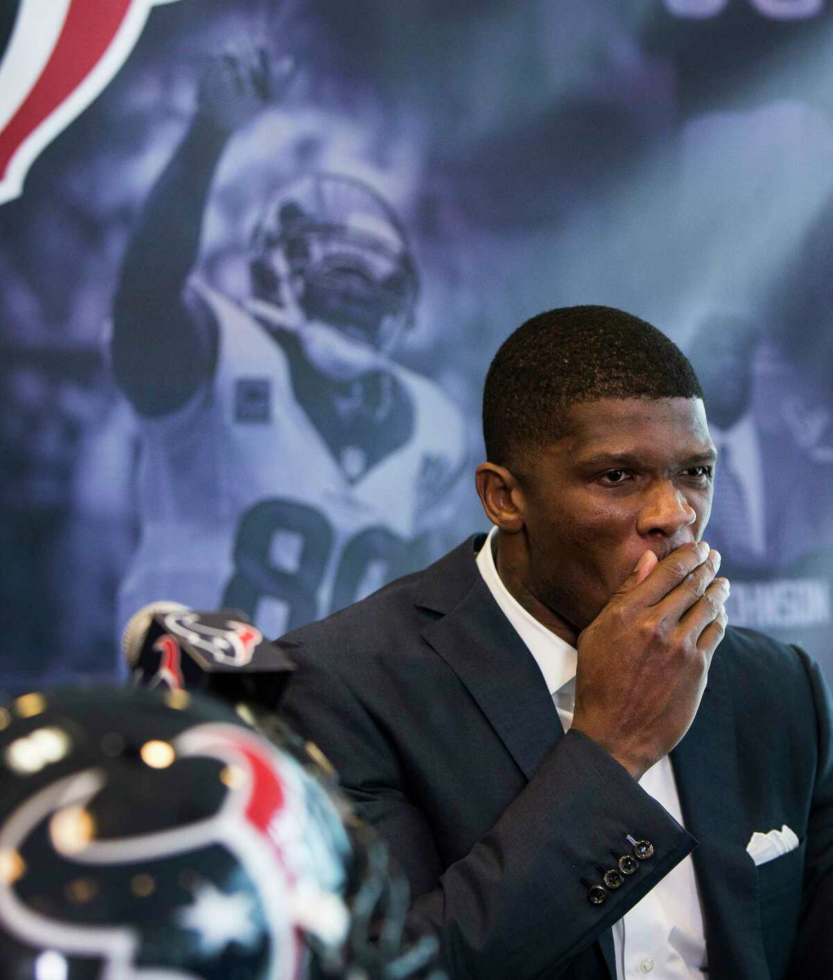 Former Houston Texans wide receiver Andre Johnson pauses as he speaks during a retirement ceremony at NRG Stadium on Wednesday, April 19, 2017, in Houston. Johnson signed a one-day contract to retire as a Texans player.