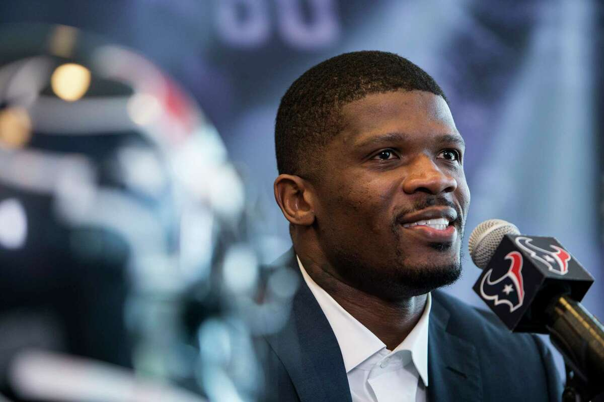 Former Houston Texans wide receiver Andre Johnson speaks during a retirement ceremony at NRG Stadium on Wednesday, April 19, 2017, in Houston. Johnson signed a one-day contract to retire as a Texans player.