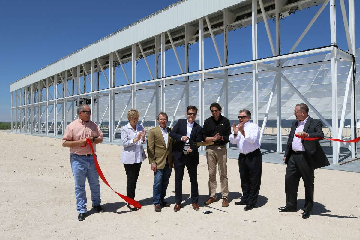 LeoLabs and Midland Development Corp. cut the ribbon on LeoLabs' new radar facility in Winkler County on Tuesday, April 18, 2017. The radar will track space debris in the low Earth orbit. Pictured are, from left, Rusty Eads of Hilliard Energy; Pam Welch, MDC executive director; Brent Hilliard, MDC chairman; Daniel Ceperley, LeoLabs CEO; Michael Nicolls, LeoLabs chief technology officer; Alan DeClerck, LeoLabs vice president of business development and strategy; and Tim Danielson, MDC director of business development. Photo courtesy Midland Development Corp.