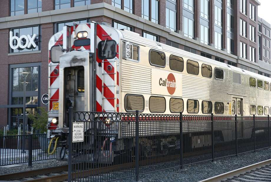 A Caltrain arrives at the train station next to the Box headquarters. Photo: Paul Chinn, The Chronicle
