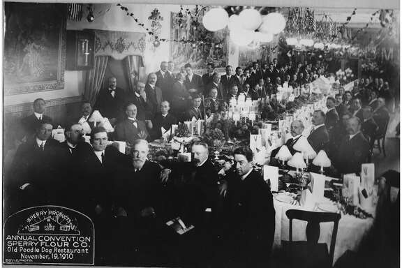 This photo,  which was taken around 1910, shows   his grandfather at a Sperry Flour meeting in   the interior of the Old Poodle Dog Cafe, was sent courtesy of John Stutz, President of the Sacramento   River Delta Historical Society