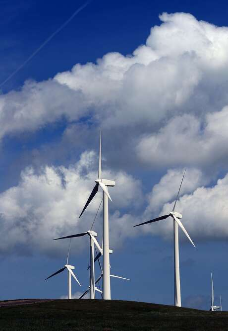The wind turbines that dot the hills outside of Rio Vista are an important source, along with solar, of renewable energy. Photo: Michael Macor, The Chronicle