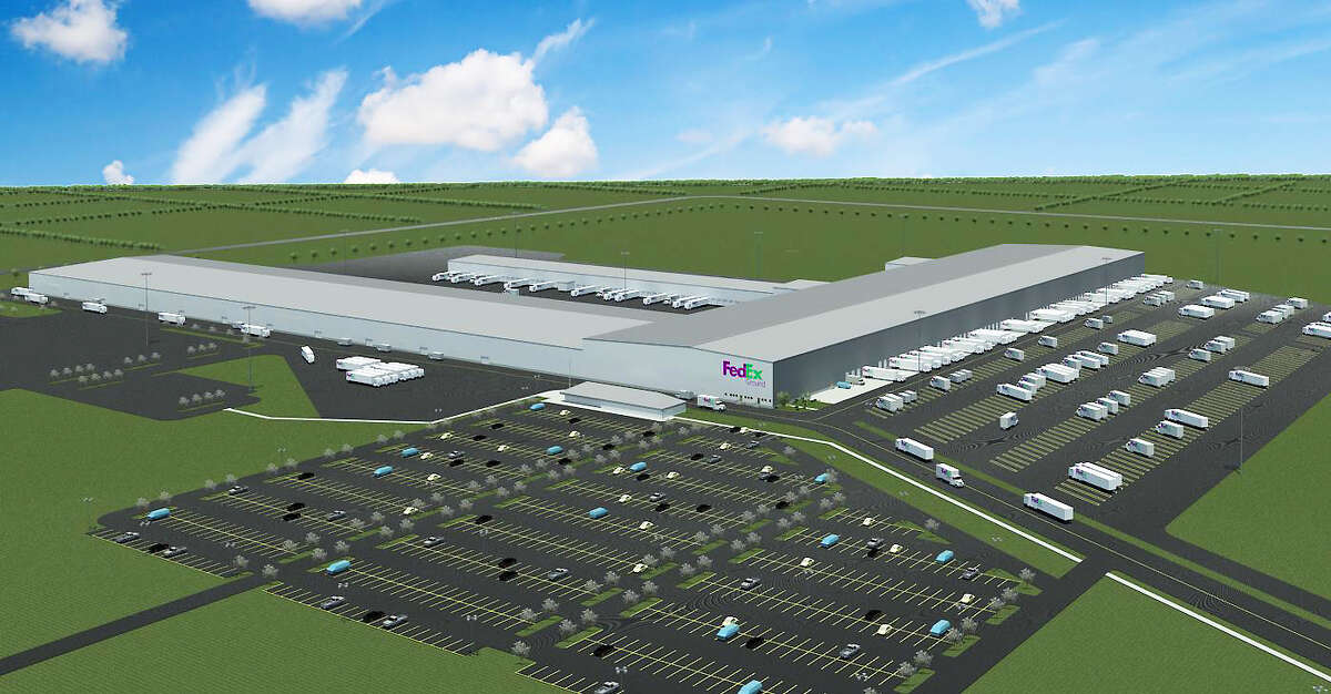 A rendering of a new FedEx Ground distribution facility in Cypress.