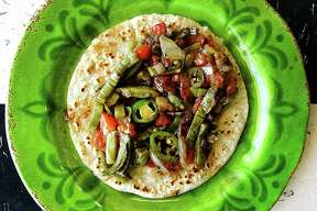 Taco of the Week: Nopales a la mexicana taco on a handmade corn tortilla from Salsa's Cafe.