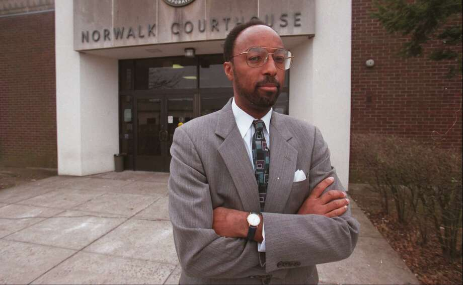 Then assistant public Defender Gary White in front of the Norwalk courthouse in 1996 as he became a Superior Court judge. Photograph by H. John Voorhees III Photo: / ST