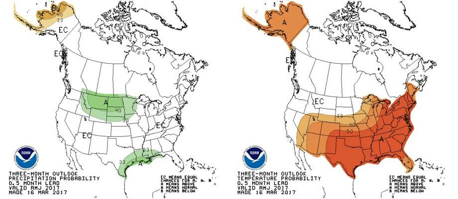 The maps show a three-month precipitation and temperature outlook. Photo: National Weather Service