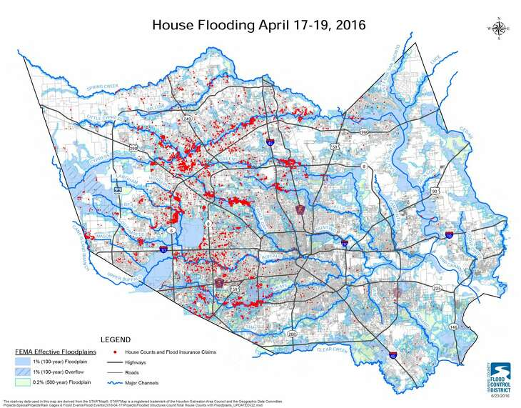 The map shows flooded buildings during the Tax Day flood.