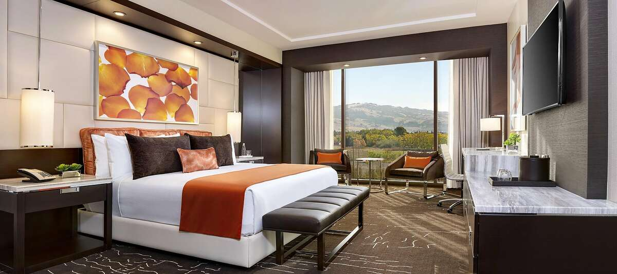 The 200 guest rooms and suites at Graton Resort � Casinofeature wenge [cq] wood and marble furnishings and customcarpets, fabrics and artwork in hues inspired by localwildflowers.