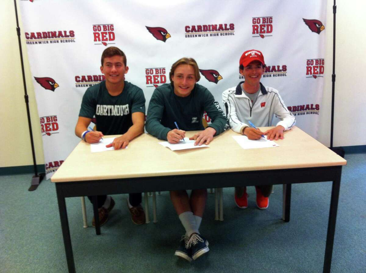 From left to right, Justin Sodokoff, Bailey Savio and Jimmy Catalano each signed National Letters of Intent to play Division I sports during a ceremony at Greenwich High School?'s Media Center. Sodokoff will dive at Dartmouth College, Savio will play lacrosse at Loyola Maryland and Catalano will compete on the crew team at the University of Wisconsin. April 19, 2017.