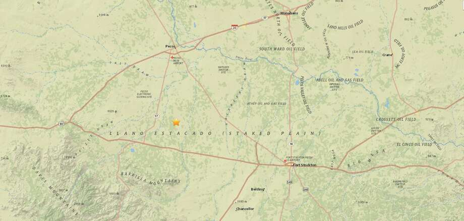 A 2.6 magnitude earthquake took place 36 kilometers south of Pecos, according to the USGS.  Photo: USGS