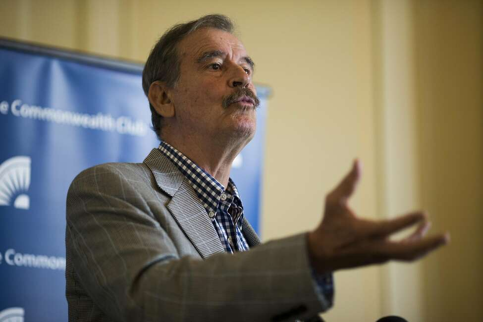 Former President of Mexico Vicente Fox answers questions from reporters before speaking to the Commonwealth Club at Marines' Memorial Theater on April 19, 2017 in San Francisco, Calif.