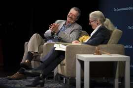 Former President of Mexico Vicente Fox, left, speaks with Dr Gloria Duffy, CEO of the Commonwealth Club, at Marines' Memorial Theater on April 19, 2017 in San Francisco, Calif.