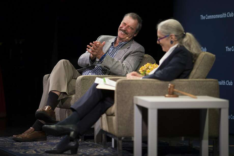 Former Mexican President Vicente Fox speaks with Commonwealth Club CEO Gloria Duffy at Marines' Memorial Theater. Photo: Beck Diefenbach, Special To The Chronicle