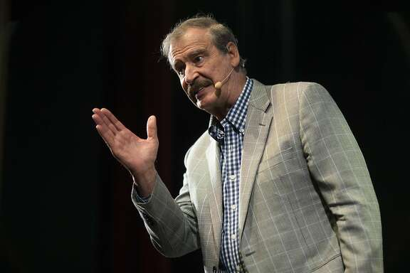 Former President of Mexico Vicente Fox speaks to the Commonwealth Club at Marines' Memorial Theater on April 19, 2017 in San Francisco, Calif.