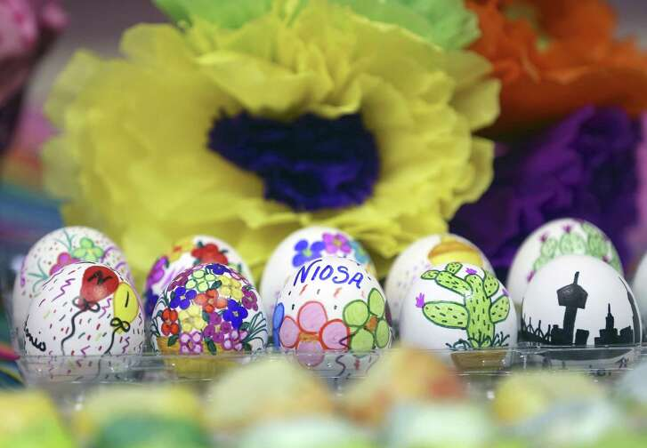 Specially decorated cascarones, seen April 14, 2017, are not part of the regular run of thousands of cascarones that will be for sale during NIOSA. But assortments will be for sale at the NIOSA store.