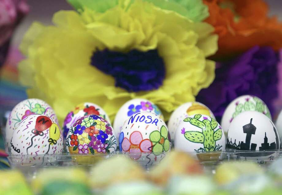 Specially decorated cascarones, seen April 14, 2017, are not part of the regular run of thousands of cascarones that will be for sale during NIOSA. But assortments will be for sale at the NIOSA store. Photo: William Luther, Staff / San Antonio Express-News / © 2017 San Antonio Express-News
