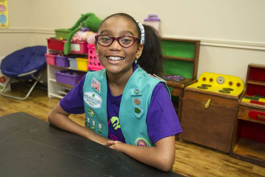 Kylin Balin, 10, will be receiving a livesaving award from the Girl Scouts of the USA for rescuing a boy at a swimming pool. Photo: Alma E. Hernandez /For The San Antonio Express News