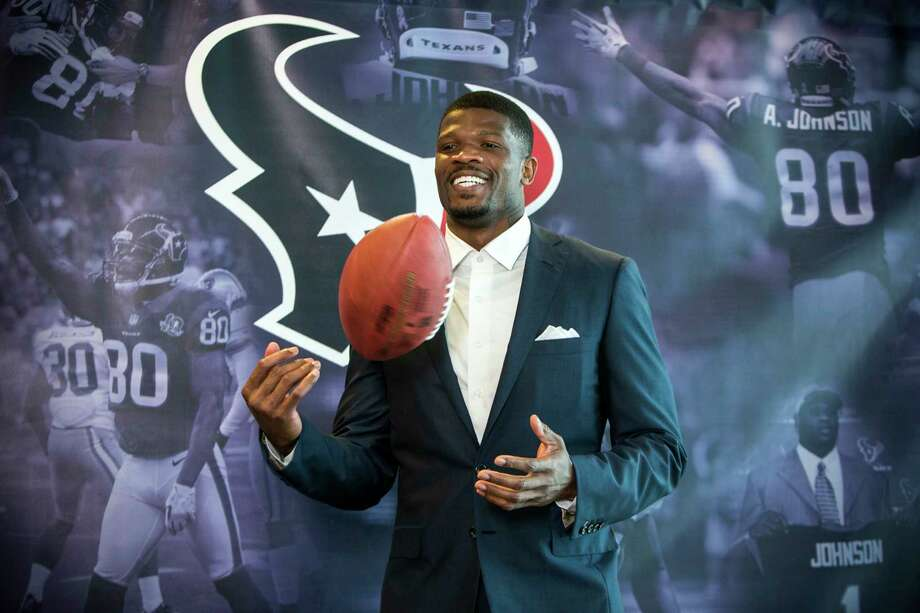 Andre Johnson, who flourished from 2003-14 by amassing 1,012 catches for 13,597 yards and 64 TDs, gets one more day to shine at NRG Stadium as he's inducted into the Texans' Ring of Honor. Photo: Brett Coomer, Staff / © 2017 Houston Chronicle
