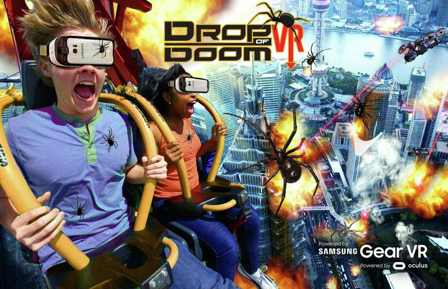 "Six Flags Entertainment Corp. and Samsung Electronics America have partnered on ""Drop of Doom VR,"" a 360-degree virtual reality experience that coincides with the ride using the Samsung Gear VR headset. The feature is slated to open July 14 and will initially be available to riders without additional charges. Photo: Courtesy"