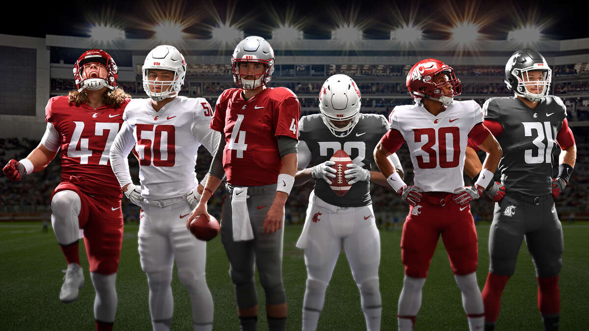The Washington State Cougars revealed new football uniforms on April 19, 2017.