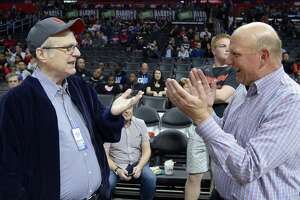 LOS ANGELES, CA - MARCH 24: Paul Allen (L),  co-founder of Microsoft and owner of Portland Trail Blazers, and Steve Ballmer, former chief executive officer of Microsoft and owner of the Los Angeles Clippers, talk before the start of the Trail Blazers and Clippers basketball game at Staples Center March 24, 2016, in Los Angeles, California. NOTE TO USER: User expressly acknowledges and agrees that, by downloading and or using the photograph, User is consenting to the terms and conditions of the Getty Images License Agreement. (Photo by Kevork Djansezian/Getty Images)