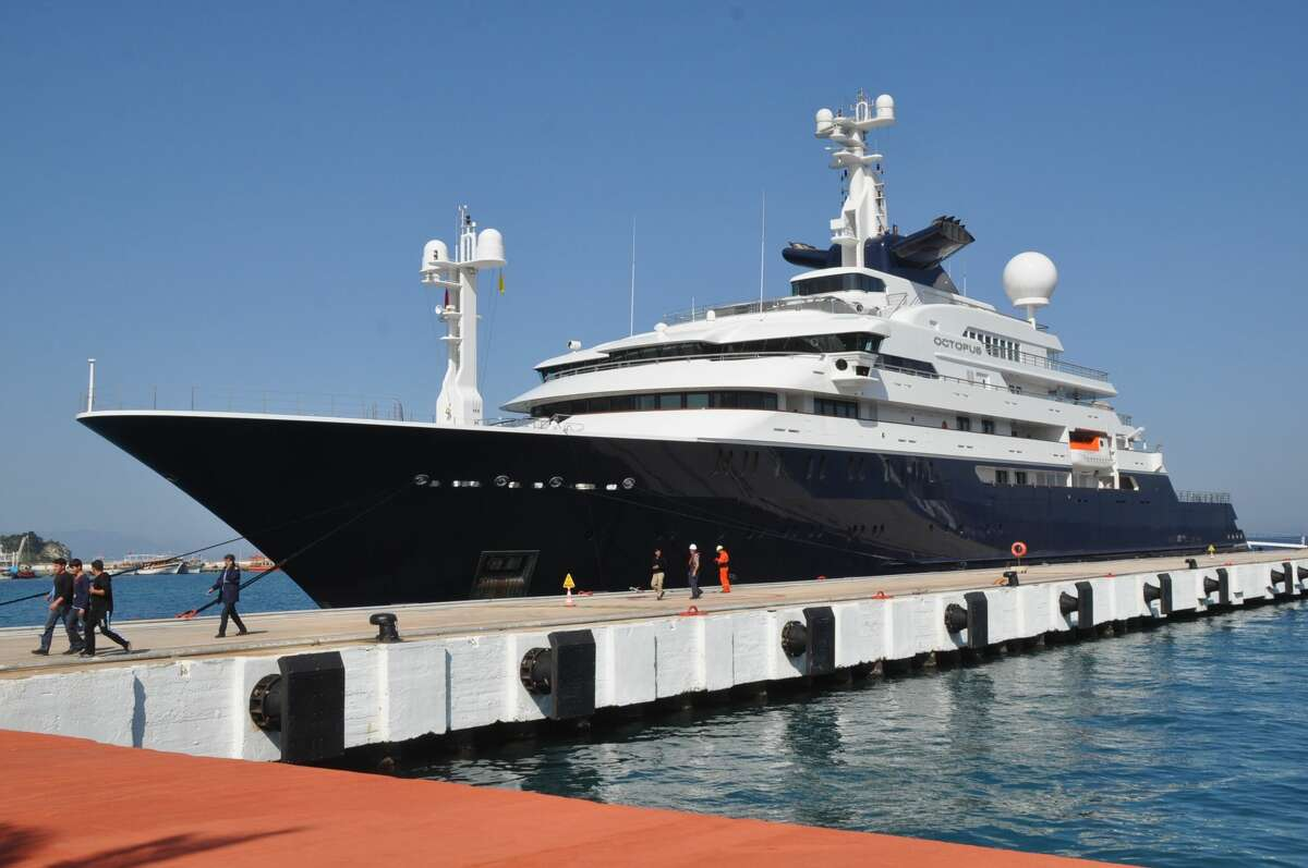 414-foot luxury yacht 'Octopus' owned by Microsoft co-founder, Paul Allen, is moored to fuel up at Ege Ports in Kusadasi district of Aydin, Turkey on April 27, 2015.
