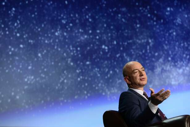 COLORADO SPRINGS, CO - APRIL 12: Founder of space company Blue Origin, Jeff Bezos, speaks about the future of commercial space travel during the 32nd Space Symposium on April 12, 2016 in Colorado Springs, Colorado. Bezos, founder and CEO of Amazon, spoke to the crowd about the business and future of commercial space travel and how his new company, Blue Origin, is looking to make that more accessible to the general public. (Photo by Brent Lewis/The Denver Post via Getty Images)