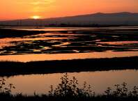 Bayfront Park in Menlo Park, Ca., is home to the South Bay Salt Pond restoration project which is seen at sunrise in on Wed. April 19, 2017.