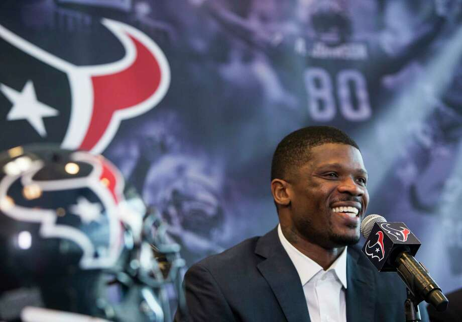 Former Houston Texans wide receiver Andre Johnson smiles as he speaks during a retirement ceremony at NRG Stadium on Wednesday, April 19, 2017, in Houston. Johnson signed a one-day contract to retire as a Texans player. ( Brett Coomer / Houston Chronicle ) Photo: Brett Coomer, Staff / © 2017 Houston Chronicle