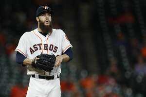 Houston Astros starting pitcher Dallas Keuchel (60) between pitches during the third inning of an MLB baseball game at Minute Maid Park, Wednesday, April 19, 2017, in Houston. ( Karen Warren / Houston Chronicle )