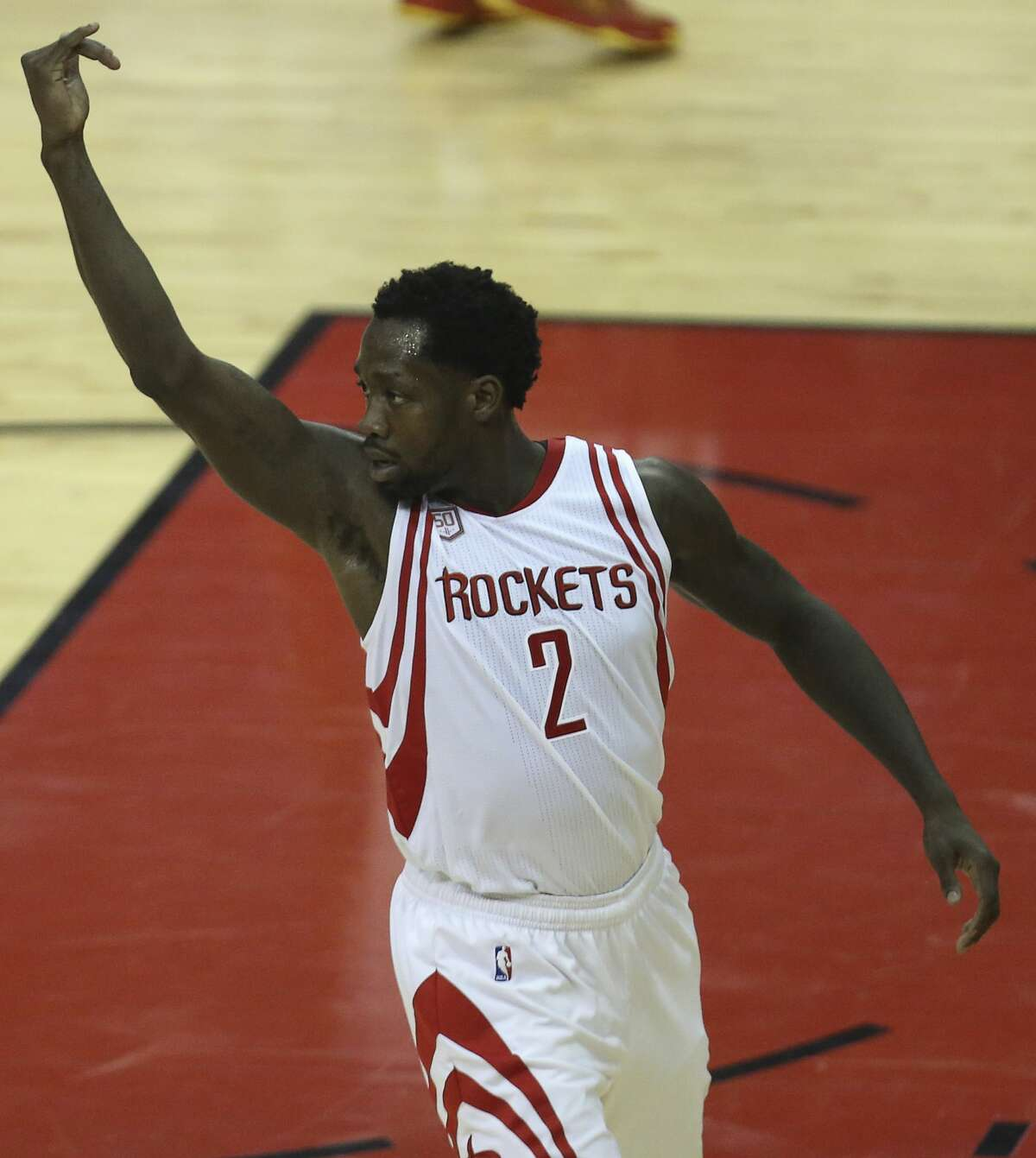 Houston Rockets guard Patrick Beverley (2) celebrates his score as the Houston Rockets take on the Oklahoma City Thunder during the second quarter in Game 2 of the first-round playoff series at Toyota Center Wednesday, April 19, 2017, in Houston. ( Yi-Chin Lee / Houston Chronicle )
