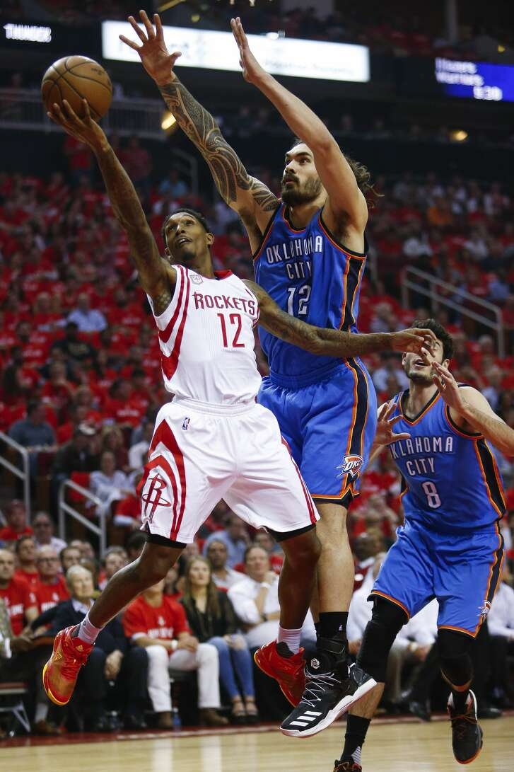 Houston Rockets guard Lou Williams (12) puts up a shot while being defended by Oklahoma City Thunder center Steven Adams (12) as the Houston Rockets take on the Oklahoma City Thunder in Game 2 of the first-round playoff series Wednesday, April 19, 2017 in Houston at the Toyota Center. ( Michael Ciaglo / Houston Chronicle)