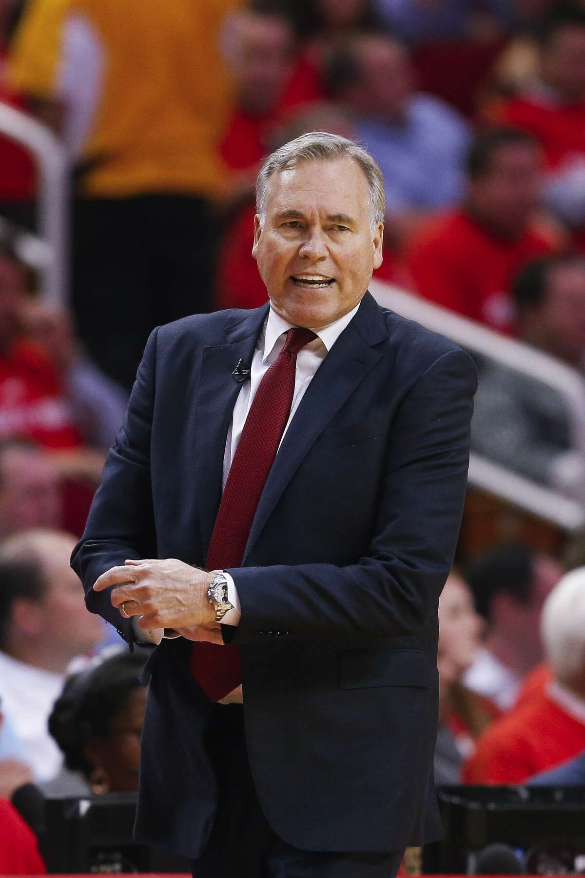 Houston Rockets head coach Mike D'Antoni yells about a foul call as the Houston Rockets take on the Oklahoma City Thunder in Game 2 of the first-round playoff series Wednesday, April 19, 2017 in Houston at the Toyota Center. ( Michael Ciaglo / Houston Chronicle)