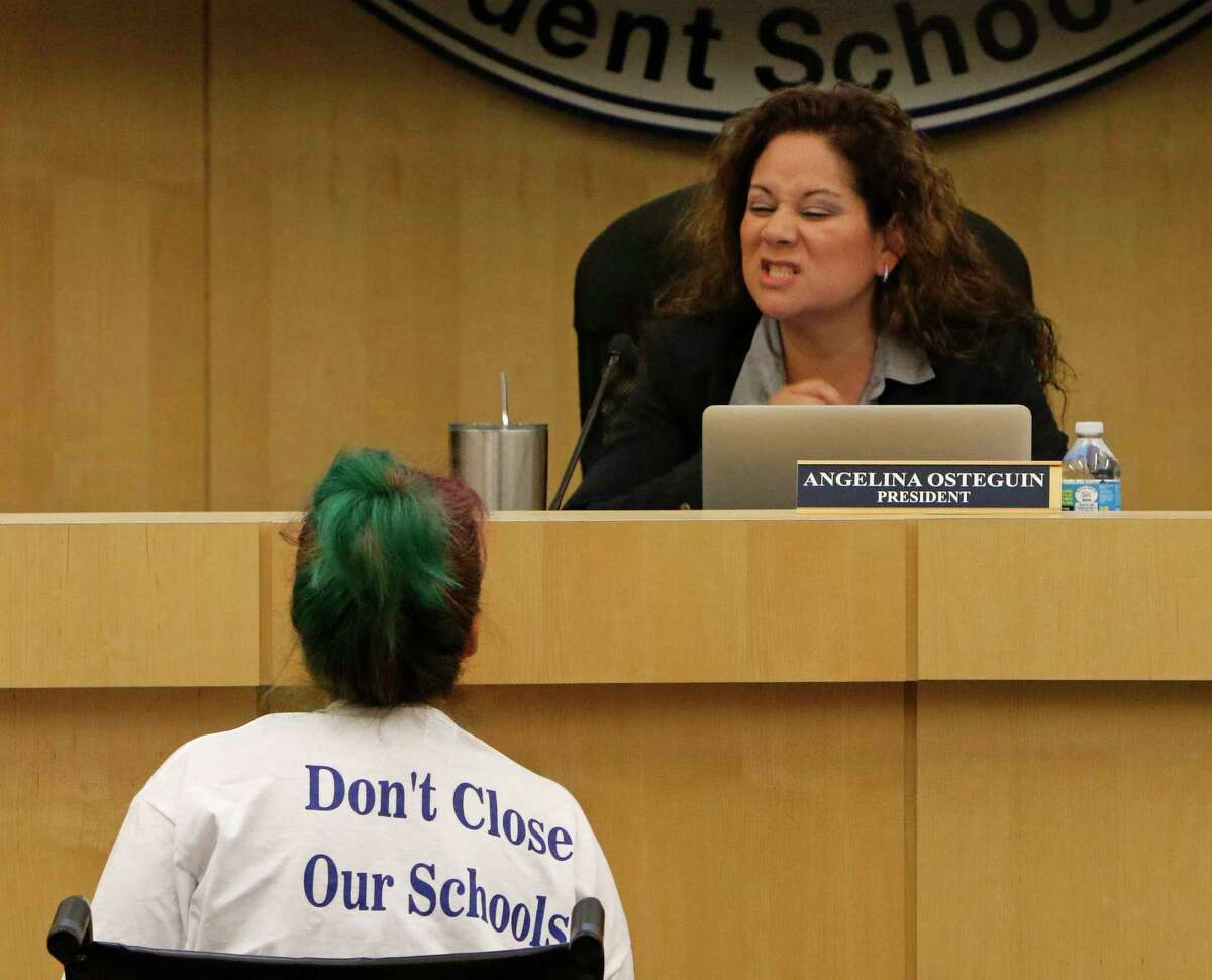 Stacey Alderete was one of the many that addressed the board at South San ISD board meeting where on the agenda is the controversial proposed closing of three elementary schools on Thursday, April 19, 2017.