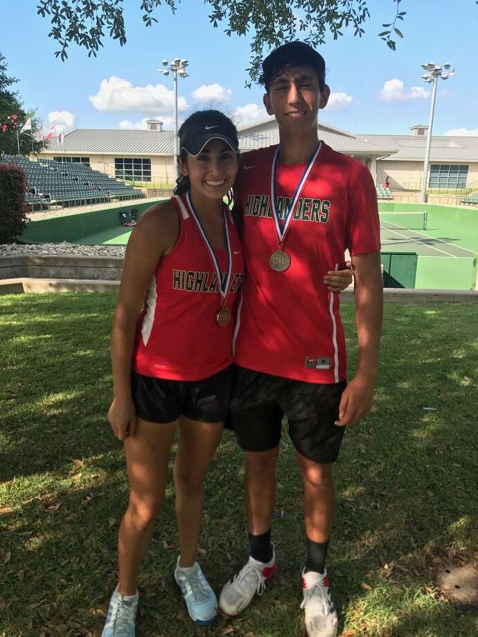 The Woodlands' Melissa Vizcardo (left) and Carlos Esteban (right) finished second at the Region II-6A Tournament in Waco, qualifying for the state tournament in College Station to take place Thursday May 18-Friday May 19. Photo: Courtesy Photo