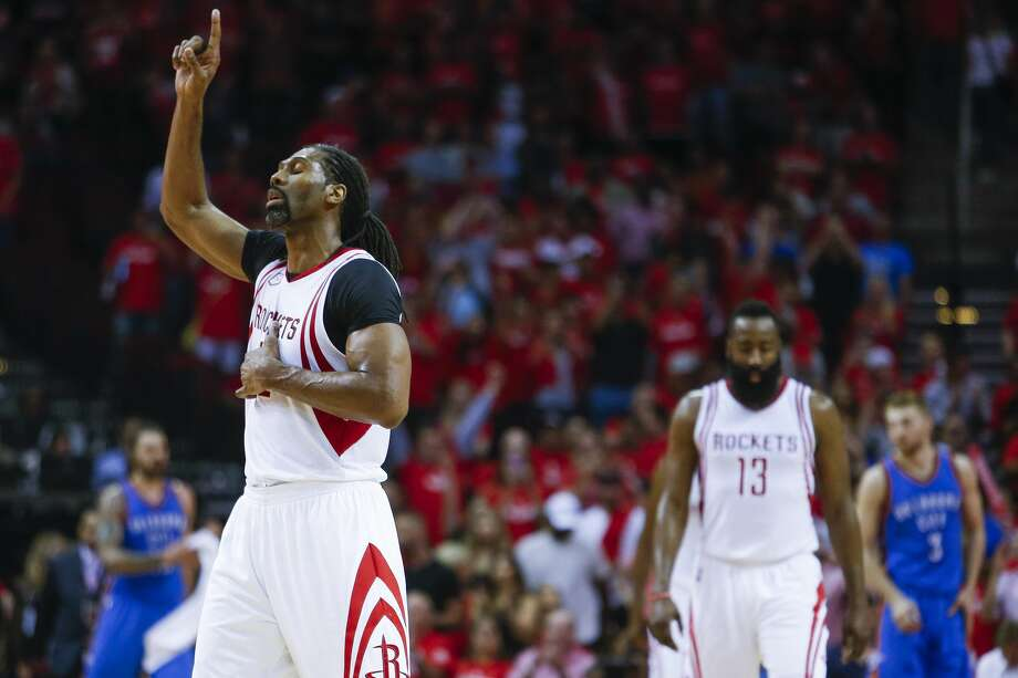 Houston Rockets center Nene Hilario (42) reacts as the Houston Rockets beat the Oklahoma City Thunder 115-111 in Game 2 of the first-round playoff series Wednesday, April 19, 2017 in Houston at the Toyota Center. ( Michael Ciaglo / Houston Chronicle) Photo: Michael Ciaglo/Houston Chronicle