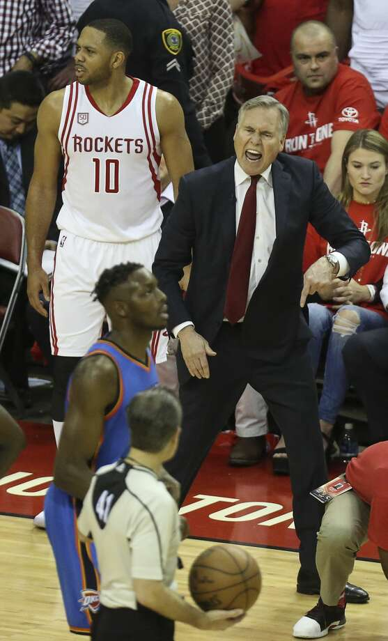 Houston Rockets head coach Mike D'Antoni is upset about a foul call on Houston Rockets guard Eric Gordon (10) as the Houston Rockets take on the Oklahoma City Thunder during the fourth quarter in Game 2 of the first-round playoff series at Toyota Center Wednesday, April 19, 2017, in Houston.  The Rockets defeated the Thunders 115-111. ( Yi-Chin Lee / Houston Chronicle ) Photo: Yi-Chin Lee/Houston Chronicle