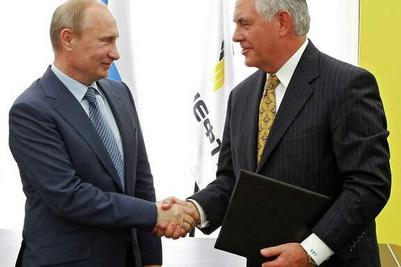 Russian President Vladimir Putin and Rex Tillerson, then Exxon Mobil's CEO, at a ceremony in 2012.