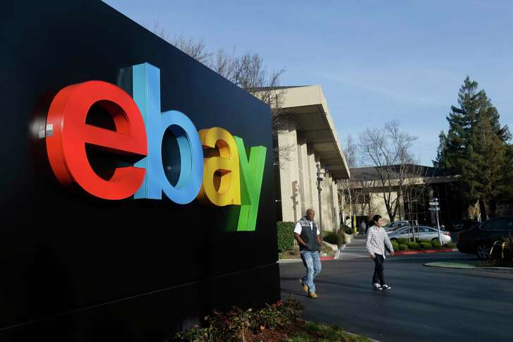 This Jan. 14, 2015 photo shows an exterior view of eBay headquarters in San Jose, Calif. EBay reports quarterly financial results on Wednesday, Jan. 21, 2015. (AP Photo/Marcio Jose Sanchez)