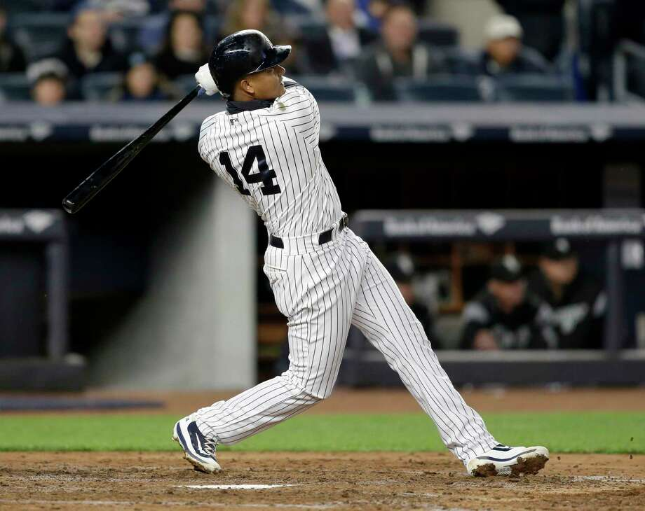 New York Yankees' Starlin Castro hits a three-run homer during the fifth inning of the baseball game against the Chicago White Sox at Yankee Stadium, Wednesday, April 19, 2017, in New York. (AP Photo/Seth Wenig) ORG XMIT: NYY111 Photo: Seth Wenig / Copyright 2017 The Associated Press. All rights reserved.