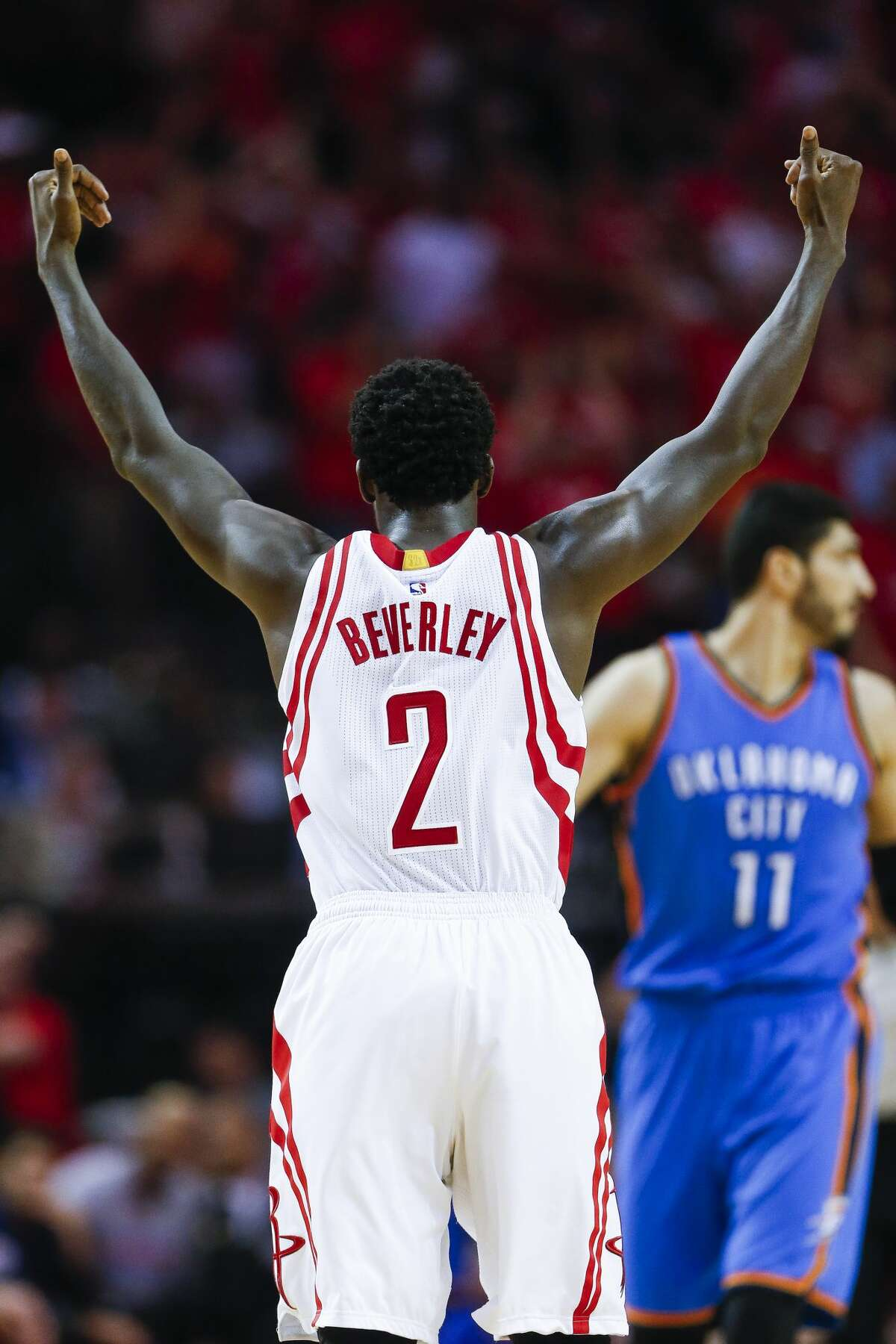 Houston Rockets guard Patrick Beverley (2) pumps up the crowd as the Houston Rockets beat the Oklahoma City Thunder 115-111 in Game 2 of the first-round playoff series Wednesday, April 19, 2017 in Houston at the Toyota Center. ( Michael Ciaglo / Houston Chronicle)