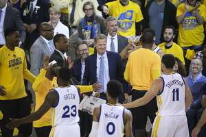 Golden State Warriors' Coach Steve Kerr smiles during a timeout in the first quarter during Game 2 of the First Round of the Western Conference 2017 NBA Playoffs at Oracle Arena on Wednesday, April 19, 2017 in Oakland, Calif.