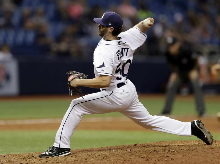 Tampa Bay Rays' Austin Pruitt pitches to the Detroit Tigers during the eighth inning of a baseball game Wednesday, April 19, 2017, in St. Petersburg, Fla. (AP Photo/Chris O'Meara) Photo: Chris O'Meara/Associated Press
